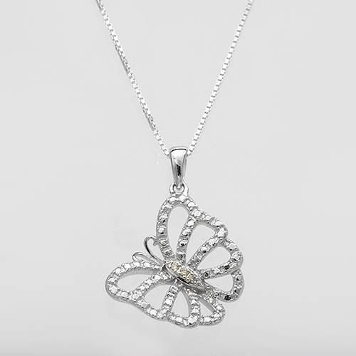 Silver Necklace With Diamonds Wonderful necklace with genuine diamonds beautifully crafted in 925 sterling silver. Total item weight 3.1g. Length 18 inch. Gemstone info: 3 diamonds, 0.02ctw., round shape and accent color.