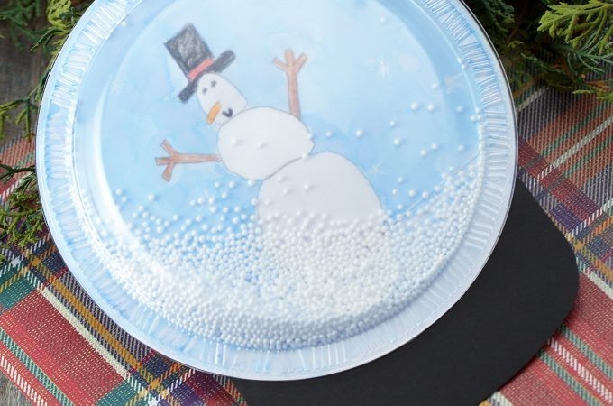Plastic Plate Snow Globe Craft Snow Globe Crafts Winter Crafts