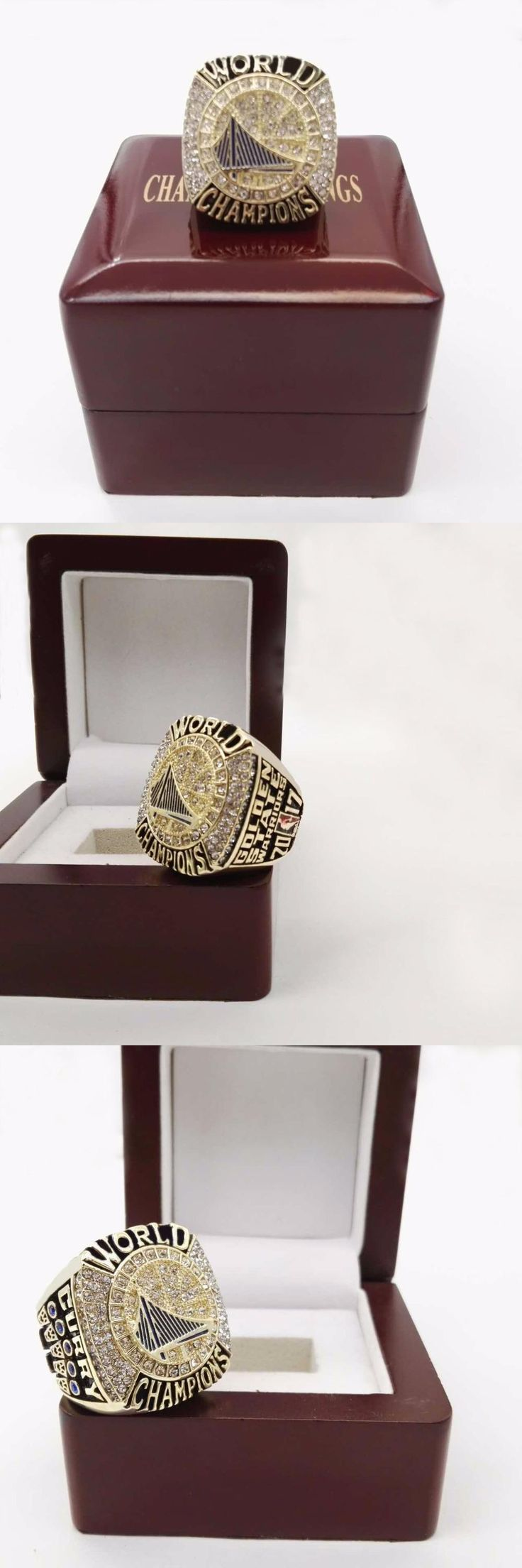 [Visit to Buy] Free Shipping 2017 Golden State Warriors Curry Round Basketball sports Replica Championship Ring size 6-15 with Wooden Box #Advertisement