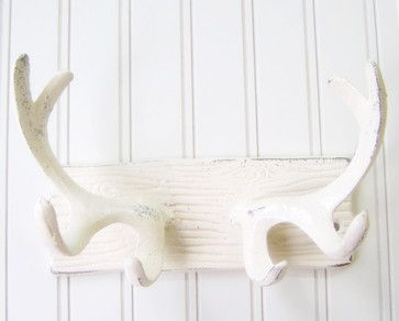 Wall Hook/Cast Iron Antlers Refinished in Shabby Cream White by The Door Stop - eclectic - Hooks And Hangers - Etsy