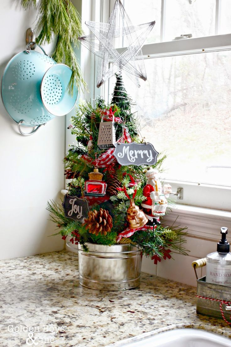 Kitchen Christmas tree with Sur La Table ornaments-www.goldenboysandme.com