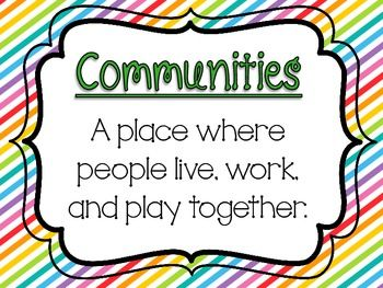 2nd Grade Social Studies Chart Pack. this pack identifies the various components and aspects of a community. Could easily be incorporated into a social studies unit.