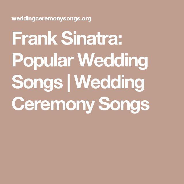 Frank Sinatra Popular Wedding Songs