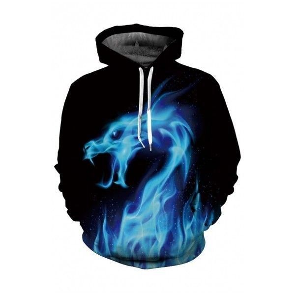 Digital Fire Dragon Pattern Long Sleeve Unisex Hoodie with Pockets ($37) ❤ liked on Polyvore featuring tops, hoodies, animal hoodies, long hoodie, print hoodie, blue hoodies and blue hoodie
