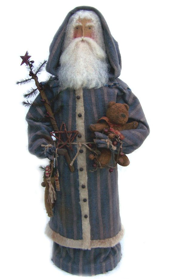 Primitive Santa with soft lambs wool beard.....wonderful primitive display all year long. NeeSeY's WiNgS by Pam Napier