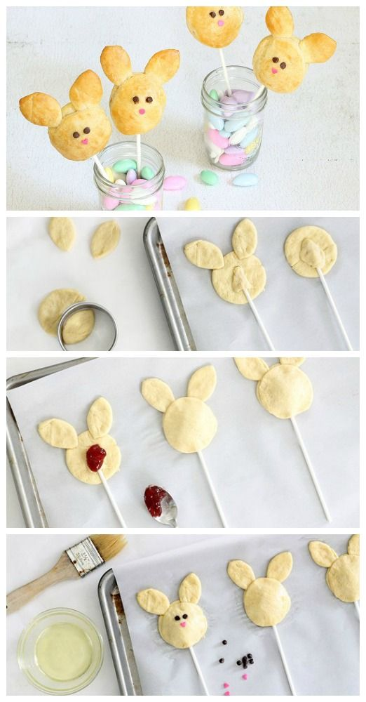 Jam-Filled Bunny Pops! These cute bunny pops are easy to make, yummy to eat, and a fun holiday treat for any age.