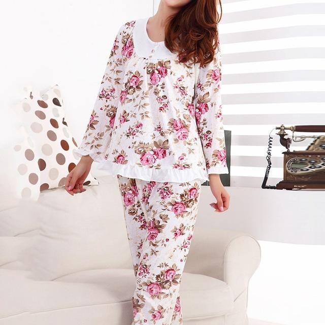 Long Sleeved Ladies Pajamas Set Cotton Pyjamas for Women Pijama Mujer Floral Print Sleepwear Homewear Nightgown Asia/Tag M-3XL