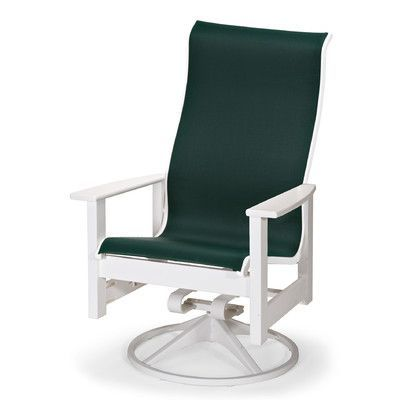 Telescope Casual Leeward Swivel Patio Dining Chair Finish: Textured Beachwood, Fabric: Forest Green