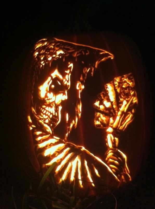 Dead man s hand pumpkin carved by marshiekins