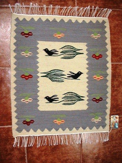 Handmade romanian traditional small rug
