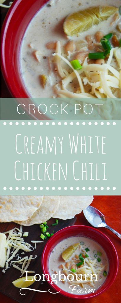Crock Pot Creamy White Chicken Chili is so easy to make and the perfect family meal. Made completely from scratch, this white chicken chili is a must have!