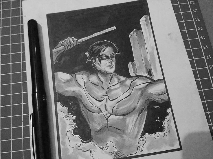 Day 3 Nightwing #inktoberday3  #ink #inktober #inktober2017 #drawing #inktoberindonesia #brush #skech #pencil #comic #art #artofvisuals #nightwing #dccomics #batman #practice #tightass