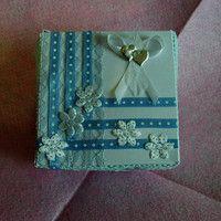 papírová krabička sváteční stříbromodrá
