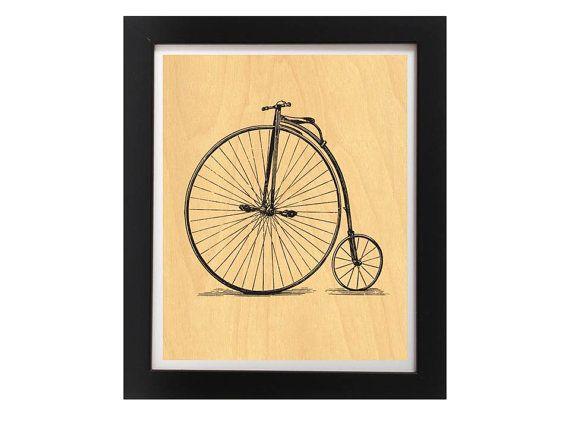 Vintage Bicycle Printed on Real Birch Wood  by TheWoodPaperShoppe