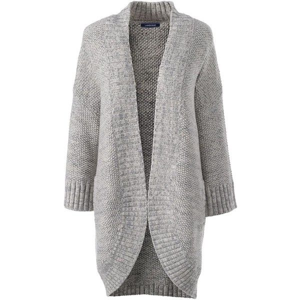 Lands' End Women's Petite Lofty 3/4 Sleeve Open Cardigan Sweater ($69) ❤ liked on Polyvore featuring tops, cardigans, grey, petite open front cardigan, gray open front cardigan, three quarter sleeve cardigan, petite cardigans and gray cardigan