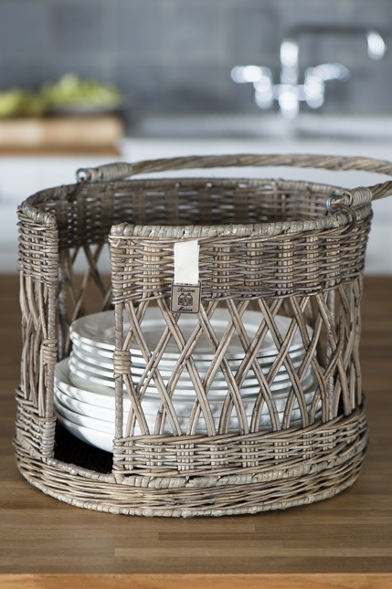 Basket storage for plates from Riviera Maison