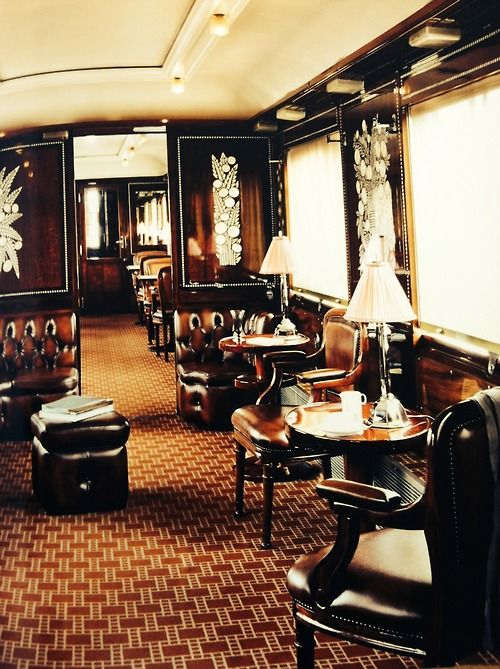 The Orient Express~ Saloon car...now that's how you travel by train! #train