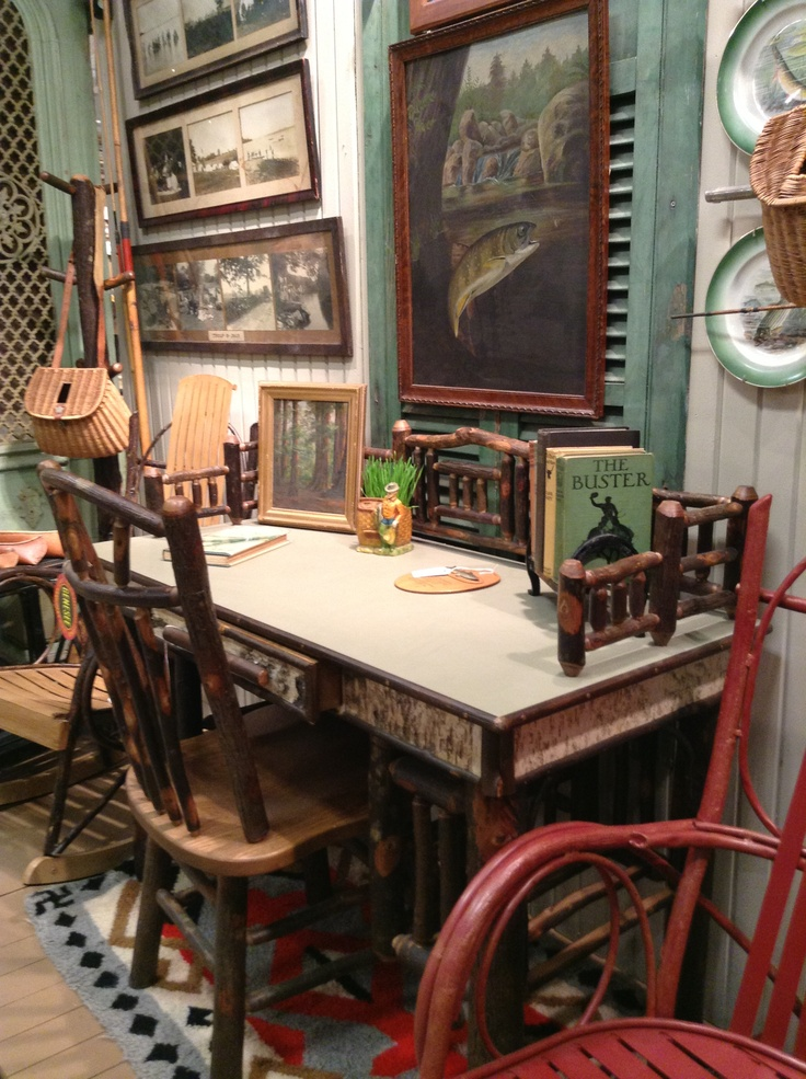 Hickory Lodge Desk with Spoke Up Chair