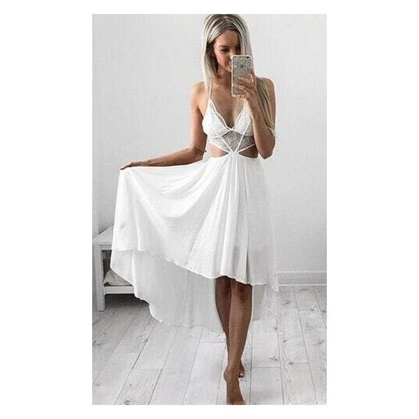 Touch The Sky White High Low Spaghetti Strap Plunge V Neck Lace Trim... ($88) ❤ liked on Polyvore featuring dresses, white high low dress, asymmetrical dress, white cut out dress, plunging v neck dress and v neck midi dress