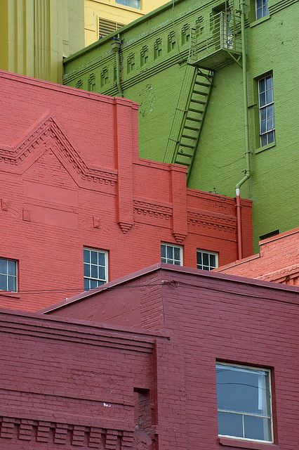 colourful brick buildings.