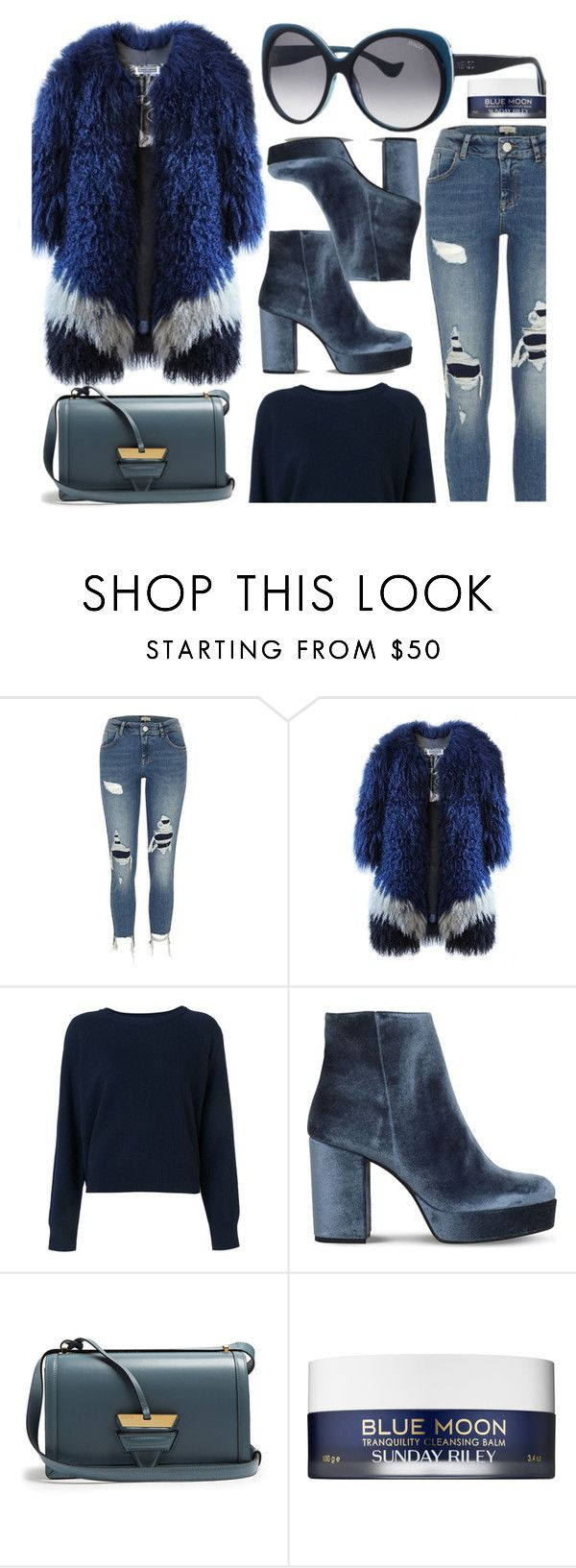 """""""Over The Top"""" by smartbuyglasses ❤ liked on Polyvore featuring River Island, T By Alexander Wang, Carvela, Loewe, Sunday Riley, Kenzo and Blue"""