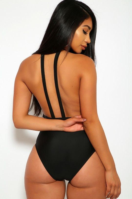 9e6c8d8f298 Sexy Black Plunge V-Cut Padded Strappy One Piece Swimsuit Monokini ...
