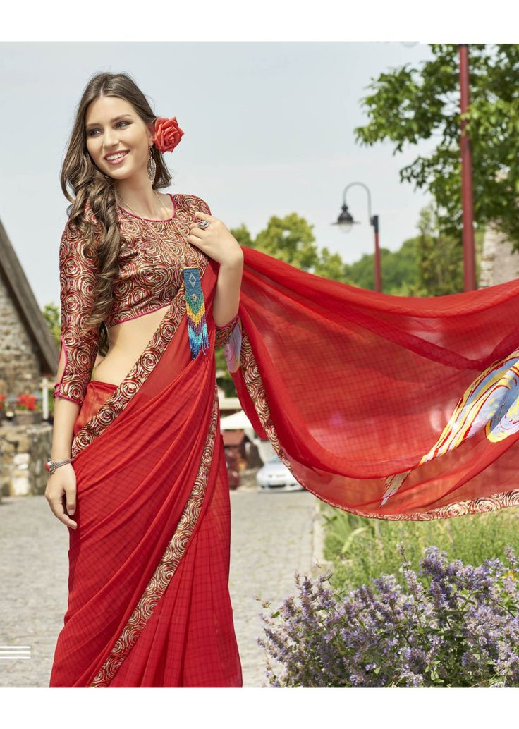 Red Faux Georgette Traditional Printed Saree. Shop Now: https://goo.gl/LH5DuW