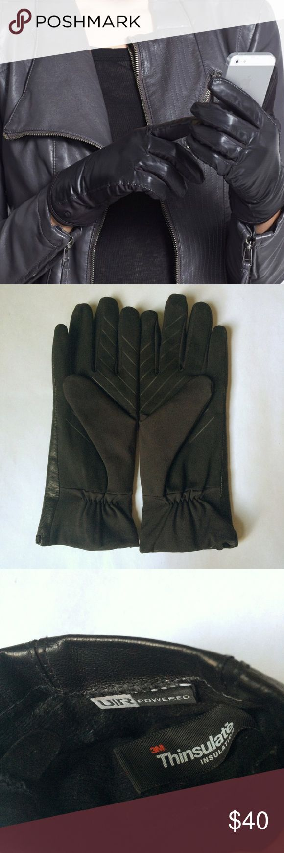Ladies leather gloves with thinsulate - Urban Research Ur Leather Tech Gloves