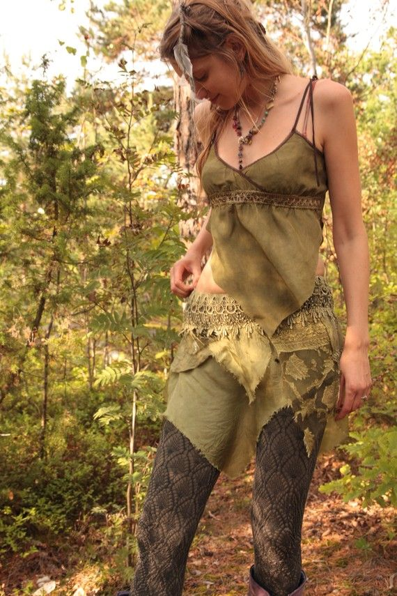 Spiral dance pixie skirt, faerie costume  by FractalWings