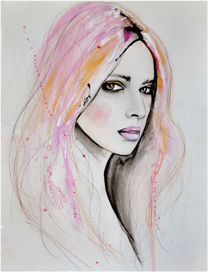 Art Print by LeighViner.  - this portrait is beautiful. the colours used for her hair are spot on.