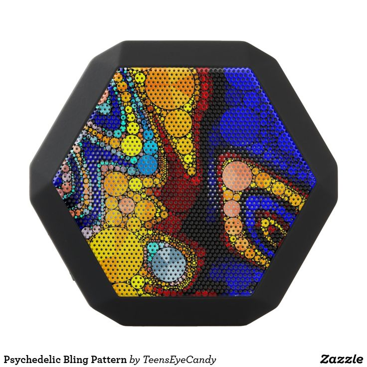 Psychedelic Bling Pattern Black Bluetooth Speaker. Música, music. Producto disponible en tienda Zazzle. Tecnología. Product available in Zazzle store. Technology. Regalos, Gifts. #bocinas #altavoces #speaker