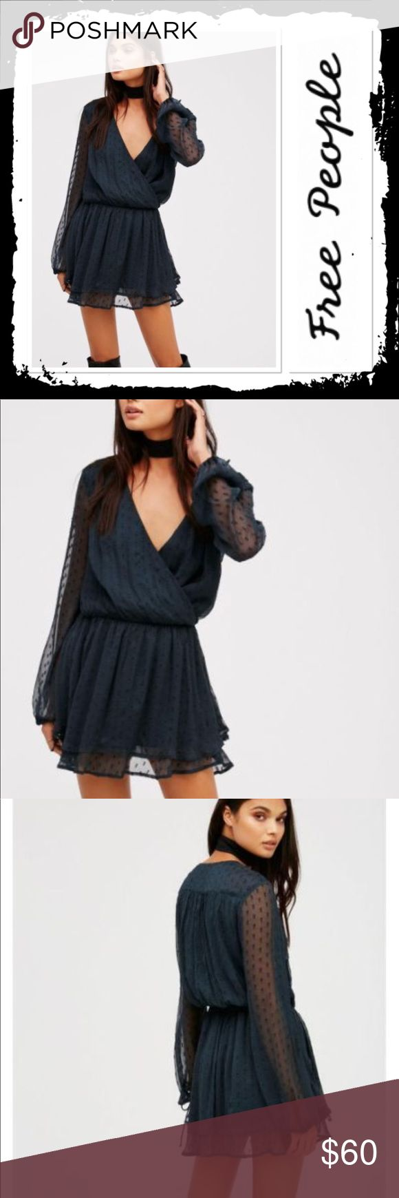 NWT Free People Daliah Mini Dress Gorgeous brand new with tags Holly Green Mini Dress with sheer sleeves a deep V neck and tiered bottom Free People Dresses Mini