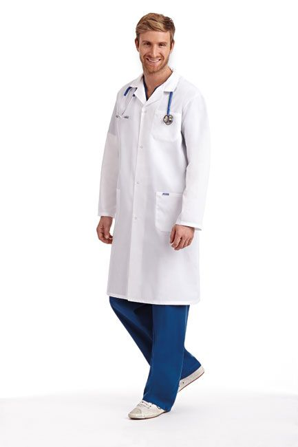 Full Length UNISEX Lab Coat :  The essential for every medical professional. This Full Length Unisex Lab Coat features a snap button front closure with two patch pockets, one chest pocket and side access slits. This lab coat is also available with a standard button front closure