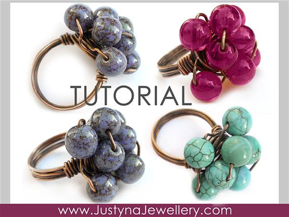 The CLUSTER RING tutorial shows how to make this beaded, chunky and funky cluster ring. It is a solder-less, wirework design. It is a very eye- catching ring, even though it is very easy and quick to make. After you make your first cluster ring you will want to make one for each of your friends and it will not take longer than 10 minutes per ring :) You can design it with any beads, stones, pearls or crystals - it's up to you. This tutorial shows how to make the ring with oxidized copper…