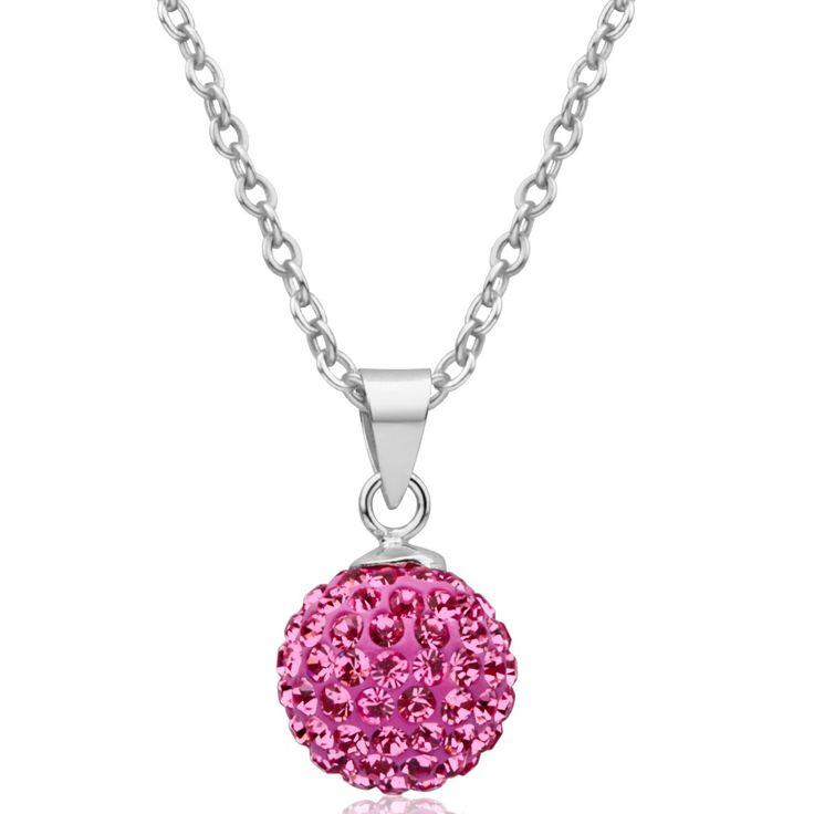 Pink Crystal Cluster Pendant in Sterling Silver