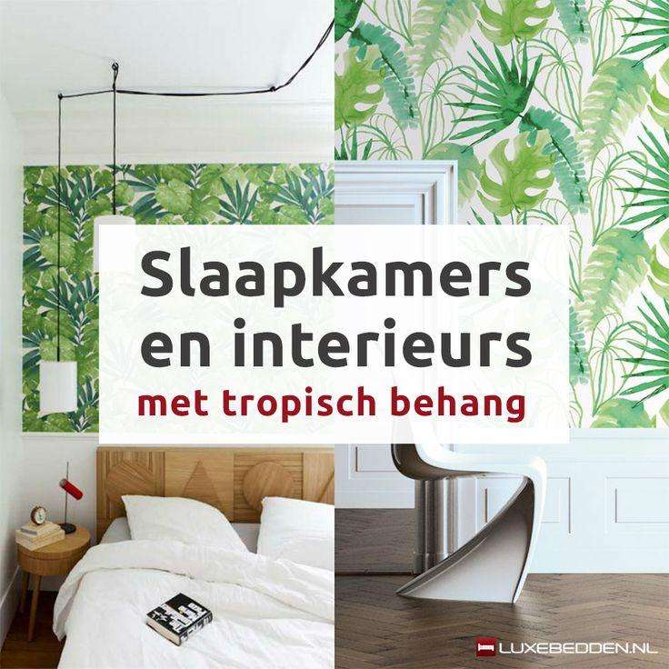 Slaapkamers en interieurs met tropisch behang | Luxebedden.nl