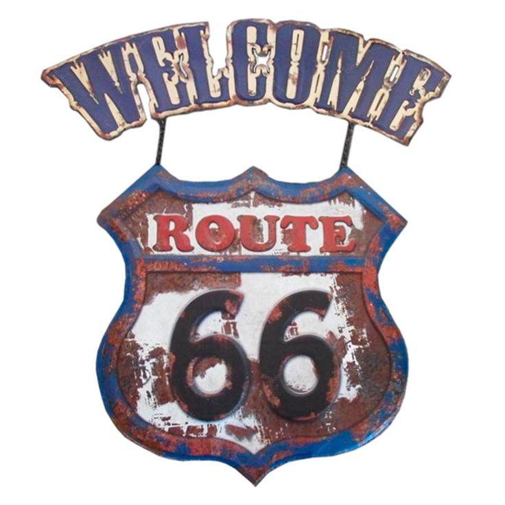 Placa de Metal Vintage Welcome Route 66 - 52x48 cm   Carro de Mola - Decorar faz bem.