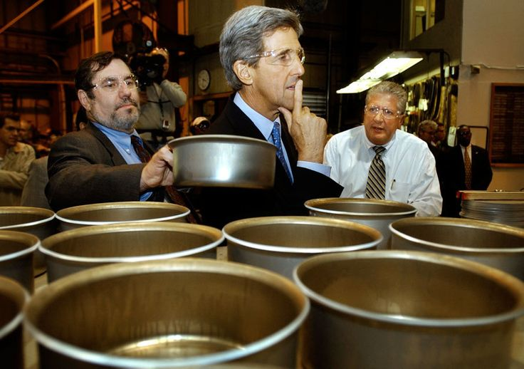 John Kerry, the 2004 Democratic nominee, at a tour of the All-Clad cookware factory Canonsburg, Pennsylvania, in April 2004. Thank goodness his goggles were on safely first.