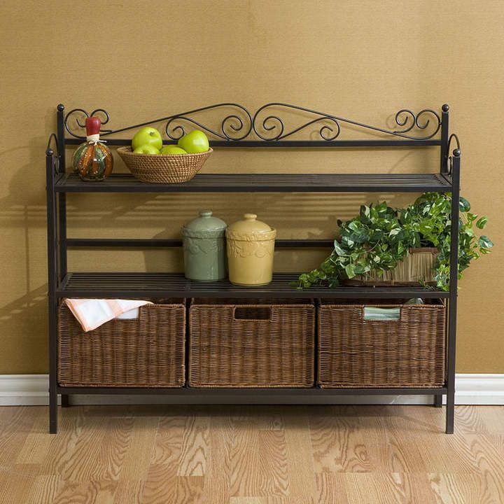Asstd National Brand Southlake Furniture 3 Drawer Bakers Rack Storage Unit With Baskets Bakers Rack Kitchen Storage Shelves