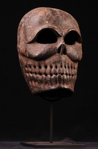 Tibetan carved wooden mask, 19th Century