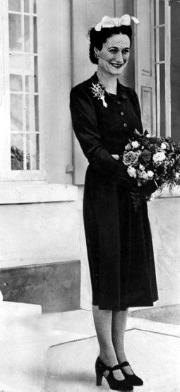 """Wallis Simpson (Bessie Wallis Warfield-Spencer-Simpson) (1896-1986) USA wife of ex-King Edward VIII """"David"""" (Edward Albert Christian George Andrew Patrick David) (1894-1972) Prince of Wales UK, Duke & Duchess of Windsor. Wallis Simpson's comment on dressing: """"[w]hen the little black dress is right, there is nothing else to wear."""""""