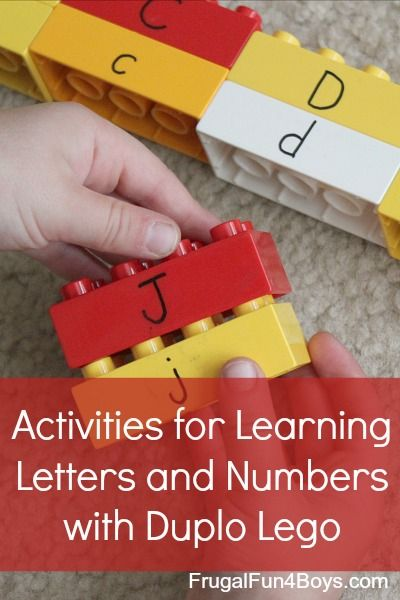 Several ideas for learning letters, numbers, and beginning reading with Duplo Legos - love these ideas!