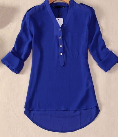 Women's Solid Color V Neck Chiffon Henley Shirt