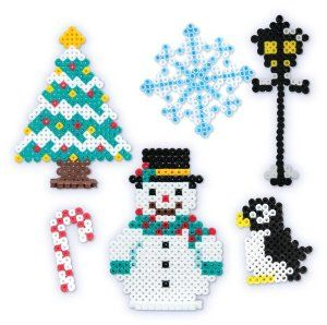 Perler Beads Fused Bead Kit - Snowman by Perler Beads. $5.88. For ages 6 years and above. Create a snowman, penguin, christmas tree and more. Fused Beads by Perler. Contains 1003 pieces to create 6 projects. Includes pegboard, pattern sheet, ironing paper and a free code to download santa's workshop pattern. From the Manufacturer                This holiday season, construct your own holiday scene with Perler Snowman Fused Bead Kit. Use 1000 beads, pegboard, patt...