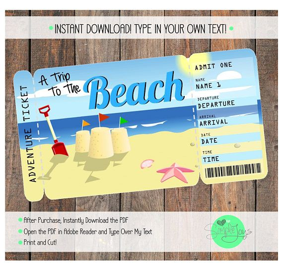 Ticket to the Beach Vacation Boarding Pass Digital File ...