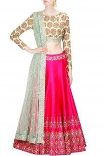 Mint green persian floral print blouse and hot pink lehenga set
