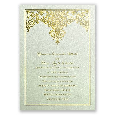 damask wedding invitation in mint and gold foil love