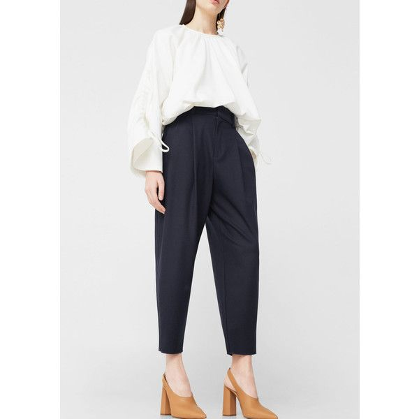 MANGO Suit cropped trousers ($80) ❤ liked on Polyvore featuring pants, capris, dark navy, white cropped trousers, high-waist trousers, high rise pants, white pants and high-waisted pants