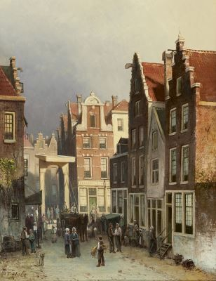 Johannes Frederik Hulk sr. (Amsterdam 1829-1911 Haarlem) A Dutch town view with a drawbridge - Dutch Art Gallery Simonis and Buunk Ede, Netherlands.