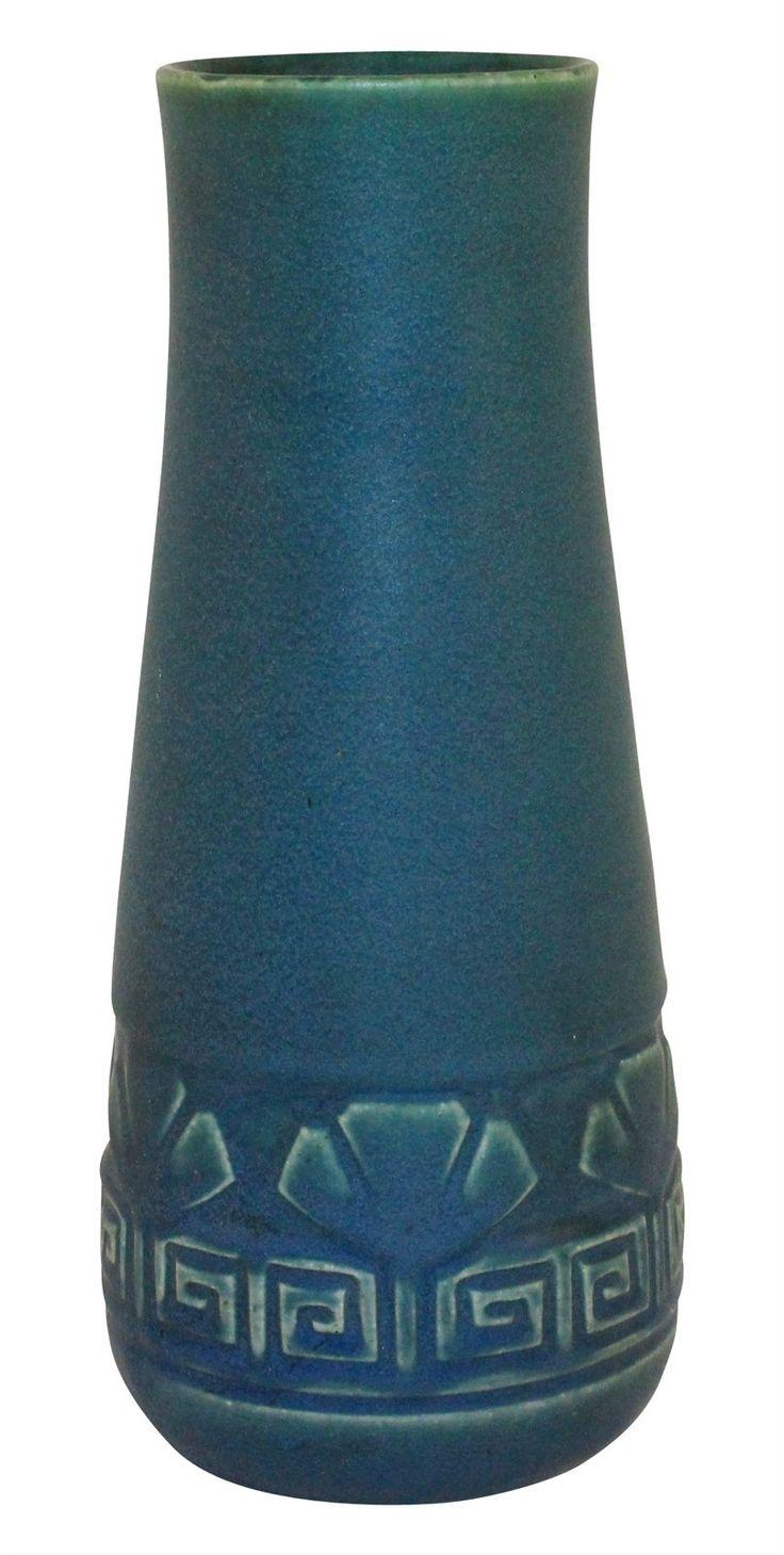 Rookwood Pottery 1913 Matte Blue Greek Key And Leaf Vase 950C